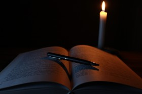 Free photo of Light, Book, Candle, Wood and Wax